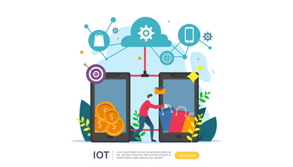 IOT smart house monitoring concept for industrial 4.0 online market on smartphone screen of internet of things connected objects. web landing page template, banner, print media. Vector illustration