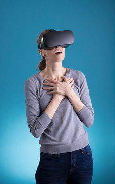 Woman using VR Virtual Reality headset