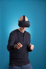 Man using VR Virtual Reality headset