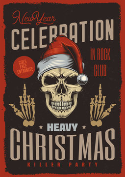 New year party poster. Skull Santa Claus vintage style. Vector illustration.