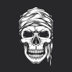 Skull in pirate vintage style. Monochrome vector illustration.