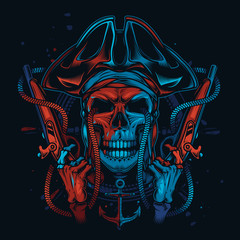Skull pirate in a cocked hat with guns in his hands. Original vector illustration in vintage style. Print on t-shirt.