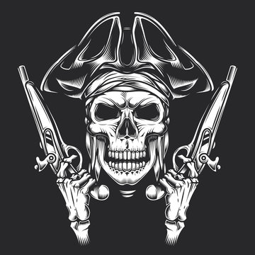 Skull with guns in his hands, in a pirate style. Monochrome vintage vector illustration.