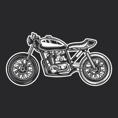 Motorcycle Cafe Racer vintage style. Monochrome vector illustration.
