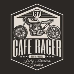 Motorcycle cafe racer vintage style. A monochrome emblem. vector illustration.