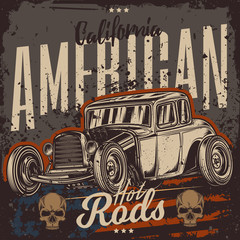 Original vector American hot rod. Classical model. Print for t-shirt or sticker