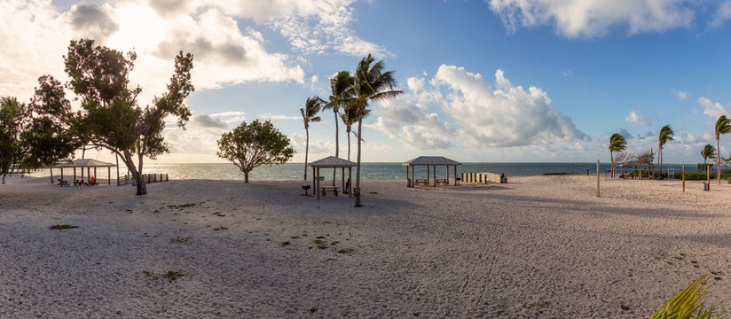 Panoramic View of a beautiful sandy beach on the Atlantic Ocean Coast during a vibrant sunny morning. Taken in Sombrero Beach, Marathon, Florida, United States.