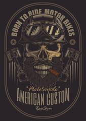 Vector poster. Brutal skull biker in motorcycle helmet, with beard and mustache, with cigar in mouth.