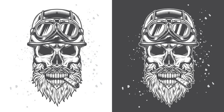 noishablonshatterMonochrome vector illustration. Brutal skull biker motorcycle helmet with beard and moustache, with a cigar in his mouth.