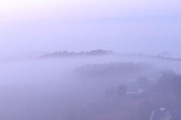 background with sun and magic dense cover farm fog at the sunrise