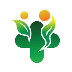 health peoples logo, leaf and nature