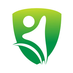 shield people logo and green nature
