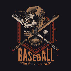 Vector illustration of a skull in a cap, with baseball supplies in the background.