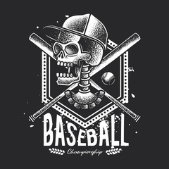 Monochrome vector illustration of a skull in a cap, with baseball supplies in the background.
