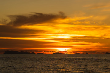 Colorful sunset above the sea. Summer vacation concept. Thailand