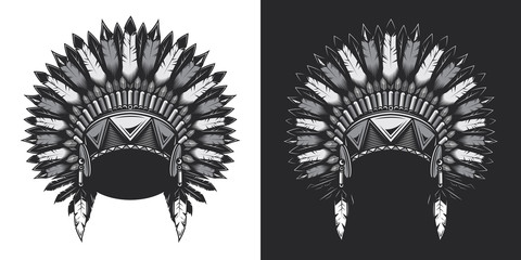 Headdress of the leader of the American Indians. Monochrome vector illustration on white and dark background.
