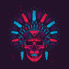 The skeleton leader. Vector illustration of American Indian in neon style. T-shirt or sticker design.
