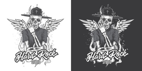 Monochrome vector illustration. The skeleton in the hat in the fire and with wings. The emblem of the music hard rock Studio.