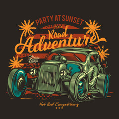 American classic hot rod. Vintage vector illustration. T-shirt or sticker design.