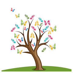 Colorful butterfly tree stock design vector.  Vector illustration