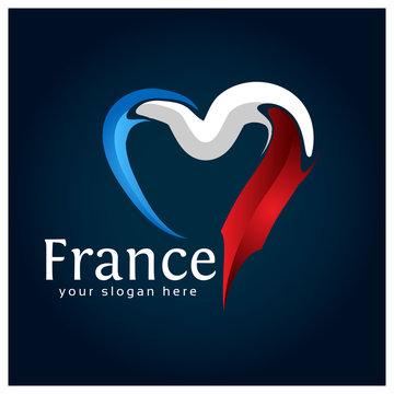 France flag Heart stock vector on blue gradient background.. Vector illustration