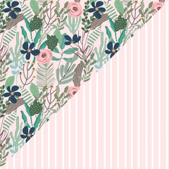 beautiful floral and stripe seamless pattern