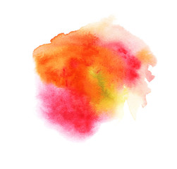 Abstract watercolor colorful blots. Red, orange, yellow, pink. Isolated on a white background