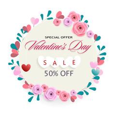 Happy Valentines Day sale banner vector design.