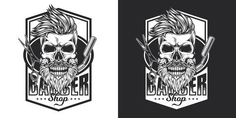 Skull Barber with beard and mustache on the background of Barber razor and scissors. Monochrome emblem on white and dark background.