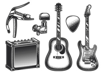 Guitar set. Monochrome vector design elements on white and dark background.