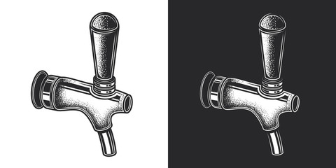 Beer tap. Monochrome vector illustration in vintage style, on white and dark background.