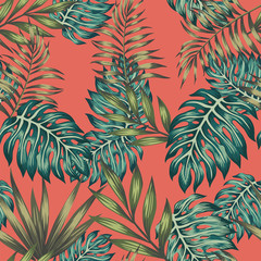 Wall Mural - Multicolored tropical leaves seamless living coral background