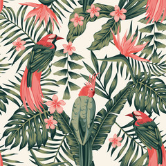 Foto auf Gartenposter Botanisch Tropical plants flowers birds abstract colors seamless