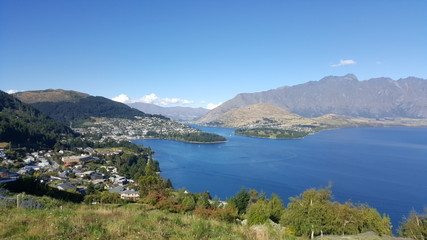 This is a mountain lookout of Queenstown, New Zealand. This is one of New Zealand's top travel destinations.  There are many activities to do or just enjoy the beautiful nature here.