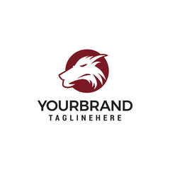 Wolf head logo template design