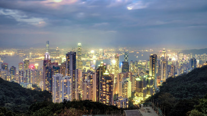 An extremely beautiful cityscape of Hong Kong.