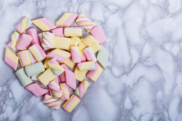 Beautiful colorful and delicious candy sweets and jelly marshmallows