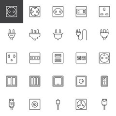 Plug and socket types outline icons set. linear style symbols collection, line signs pack. vector graphics. Set includes icons as Light dimmer switch, wire phone socket, electric connector, usb cable