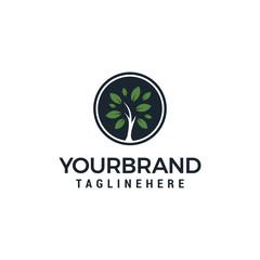 Tree Logo circle outline design vector template