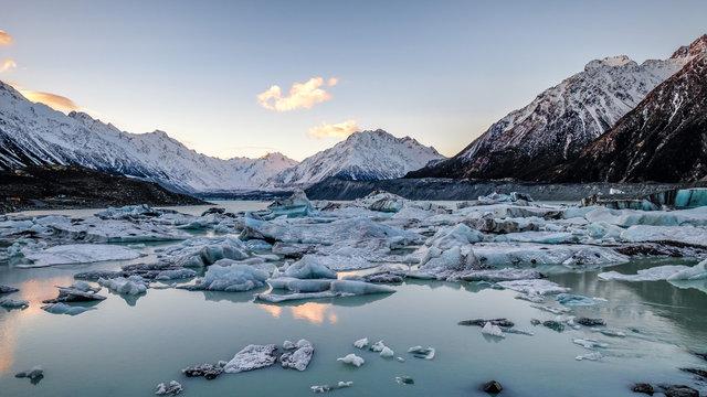 Global warming climate change melting ice lake glacier in New Zealand