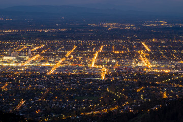This photo was shot high up on the hill overlooking christchurch city of new zealand.