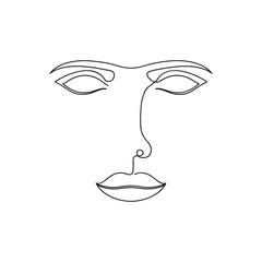 One line abstract face. Continuous line drawing of female portrait. Vector illustration.
