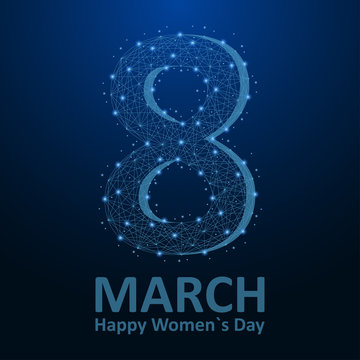 Women`s Day low poly card, 8 March illustration made by points and lines, polygonal wireframe mesh on night sky, dark blue background. Vector.