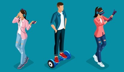 Isometric 3D Teenagers Using Hi Tech Gadgets