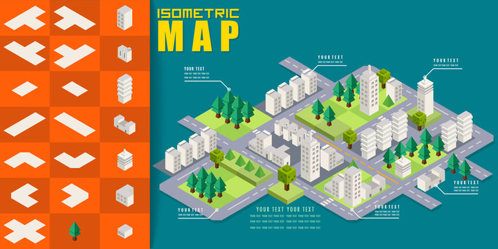 Isometric block map construction elements set for game resource, Building city map urban furniture element traffic flat 3d, Vector illustrator