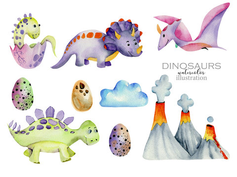 Cute dinosaurs collection watercolor illustration
