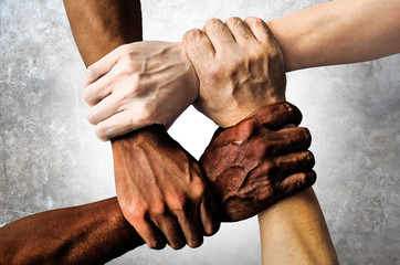 multiracial group with black african American Caucasian and Asian hands holding each other wrist in tolerance unity love and anti racism concept