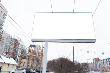 billboard MOCKUP for outdoor advertising. standing in the city