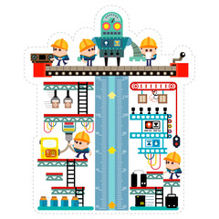 Kids height chart with maker robot in the factory, Meter wall or height meter from 50 to 120 centimetre , Vector illustration