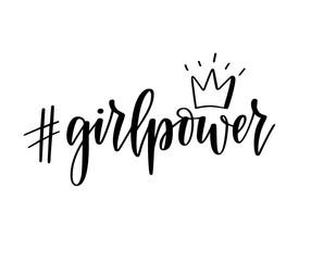 Girl power hashtag vector motivational feminist inspiration lettering